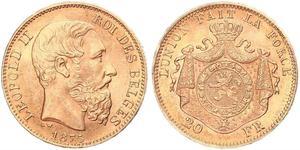 20 Franc Belgien Gold Leopold II (1835 - 1909)