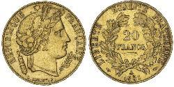 20 Franc French Second Republic (1848-1852) Gold