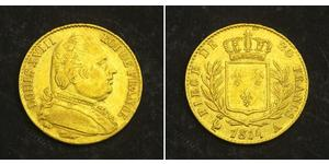 20 Franc Kingdom of France (1815-1830) Gold Louis XVIII of France (1755-1824)