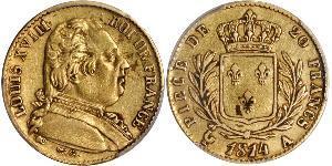 20 Franc Kingdom of France (1815-1830) Gold Louis XVIII of France (1755-1824)