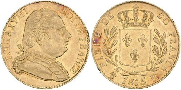 20 Franc Kingdom of France (1815-1830) Gold Ludwig XVIII (1755-1824)