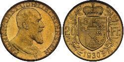 20 Franc Liechtenstein Gold Franz I, Prince of Liechtenstein (1853 -1938)