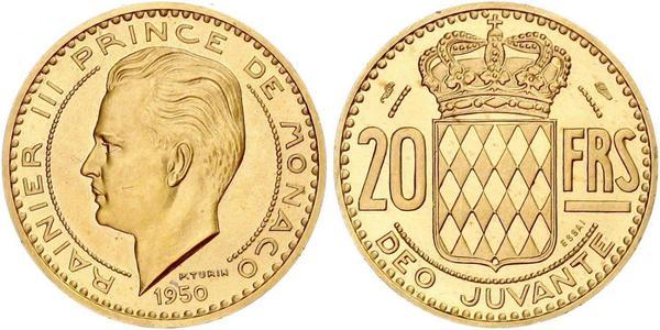 20 Franc Monaco Gold Rainier III, Prince of Monaco