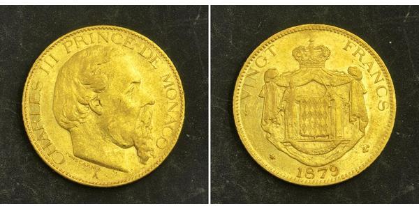 20 Franc Monaco Gold Charles III Prince of Monaco (1818-1889)