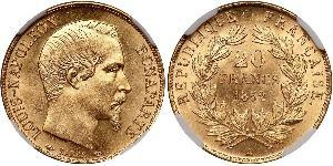 20 Franc Second French Empire (1852-1870) Gold Napoleon III (1808-1873)