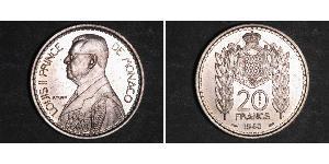 20 Franc Monaco Kupfer/Nickel Louis II. von Monaco (1870-1949)