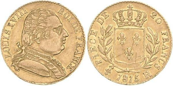 20 Franc Kingdom of France (1815-1830) Or Louis XVIII de France  (1755-1824)