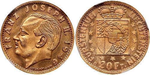 20 Franc Liechtenstein Or