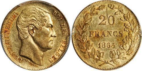 20 Franc Bélgica Oro Leopoldo I de Bélgica (1790-1865)