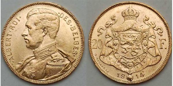 20 Franc Bélgica Oro
