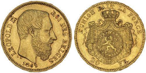 20 Franc Belgio Oro Leopold II (1835 - 1909)