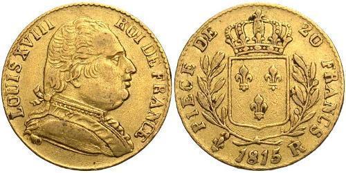 20 Franc Kingdom of France (1815-1830) Oro Luigi XVIII di Francia (1755-1824)