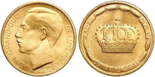 20 Franc Lussemburgo Oro Giovanni di Lussemburgo (1921 - )