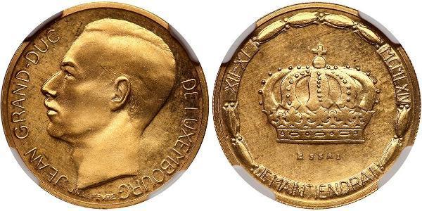 20 Franc Luxemburgo Oro Juan de Luxemburgo (1921 - )