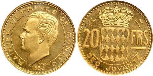 20 Franc Mónaco Oro Raniero III de Mónaco