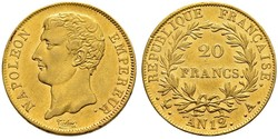 20 Franc Primer Imperio francés (1804-1814) Oro Napoleón Bonaparte(1769 - 1821)