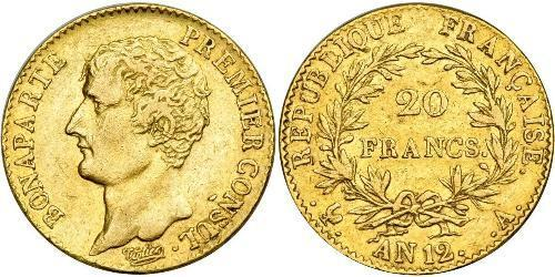 20 Franc Primo Impero francese (1804-1814) Oro Napoleone Bonaparte(1769 - 1821)