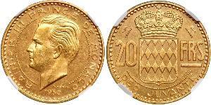 20 Franc Principato di Monaco Oro Ranieri III di Monaco