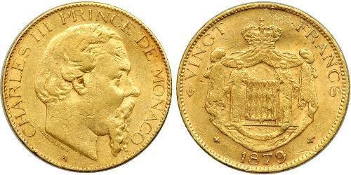 20 Franc Principato di Monaco Oro Carlo III di Monaco (1818-1889)
