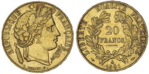 20 Franc Seconda Repubblica francese (1848-1852) Oro