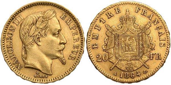20 Franc Secondo Impero francese (1852-1870) Oro Napoleone III (1808-1873)