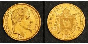 20 Franc Segundo Imperio francés (1852-1870) Oro Napoleon III (1808-1873)