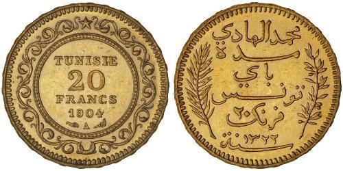 20 Franc Túnez Oro
