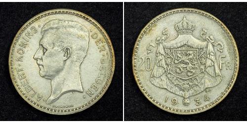 20 Franc Bélgica Plata Alberto I de Bélgica (1875 - 1934)