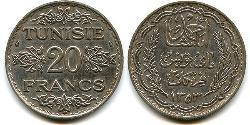 20 Franc Túnez Plata
