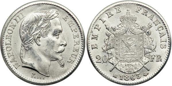 20 Franc Segundo Imperio francés (1852-1870) Platino Napoleon III (1808-1873)