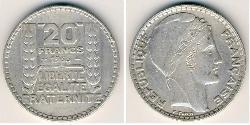 20 Franc French Third Republic (1870-1940)  Silver
