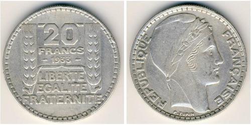20 Franc French Third Republic (1870-1940)  Silver