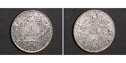 20 Franc French protectorate in Morocco (1912 - 1956) Silver Mohammed V of Morocco (1909 - 1961)