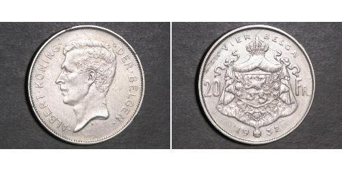 20 Franc Bélgica  Alberto I de Bélgica (1875 - 1934)