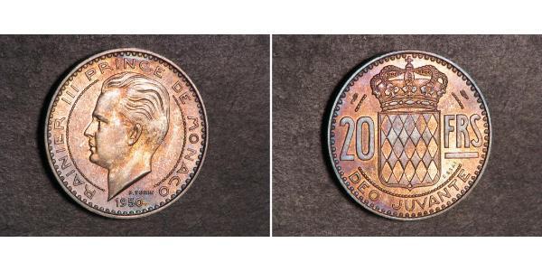 20 Franc Mónaco  Raniero III de Mónaco