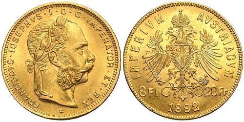 20 Franc / 8 Florin Österreich-Ungarn (1867-1918) Gold Franz Joseph I (1830 - 1916)