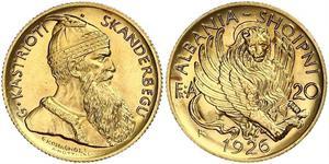 20 Franga Ari Albanian Republic (1925-1928) Gold Zog I, Skanderbeg III of Albania