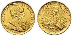 20 Franga Ari Albanian Republic (1925-1928) Oro Zog I, Skanderbeg III of Albania