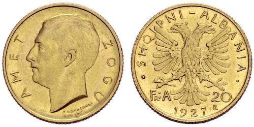 20 Franga Ari Repubblica albanese (1925-1928) Oro Zog I, Skanderbeg III of Albania