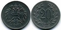 20 Heller Imperio austrohúngaro (1867-1918) Acero