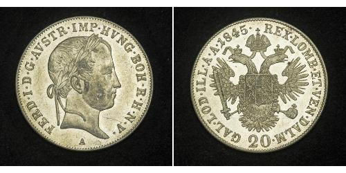 20 Kreuzer Impero austriaco (1804-1867) Argento Ferdinand I of Austria (1793 - 1875)
