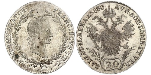 20 Kreuzer Imperio austríaco (1804-1867) Plata Francis II, Holy Roman Emperor (1768 - 1835)
