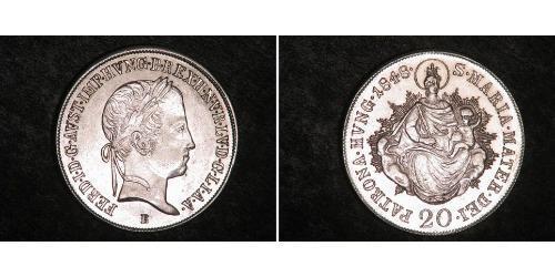 20 Kreuzer Reino de Hungría (1000-1918) Plata Ferdinand I of Austria (1793 - 1875)