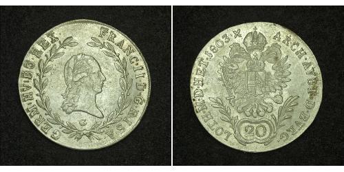 20 Kreuzer Austrian Empire (1804-1867) Silver Francis II, Holy Roman Emperor (1768 - 1835)