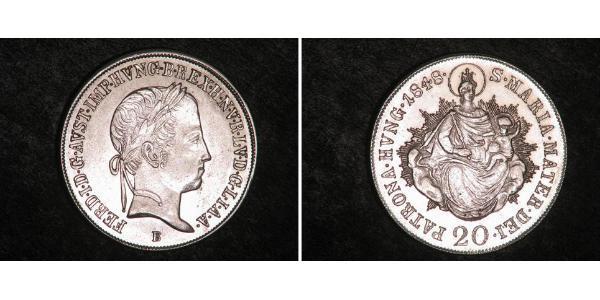 20 Kreuzer Kingdom of Hungary (1000-1918) Silver Ferdinand I of Austria (1793 - 1875)