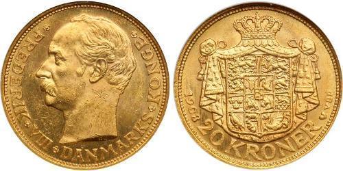 20 Krone 丹麦 金 弗雷德里克八世 (1843 - 1912)