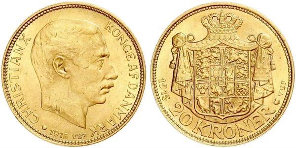 20 Krone Dänemark Gold Christian X. (1870 - 1947)