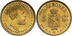 20 Krone Norway Gold Oscar II of Sweden (1829-1907)