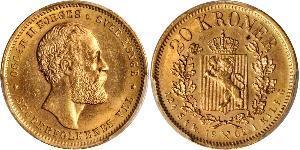 20 Krone Norway Gold Oscar II of Sweden (1829-1907)