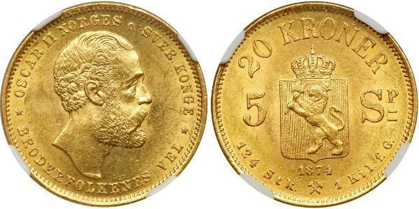 20 Krone Norwegen Gold Oskar II. (Schweden) (1829-1907)
